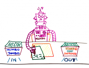 Our robot translates mumbo-jumbo into Vitamin Dummy Approved information.